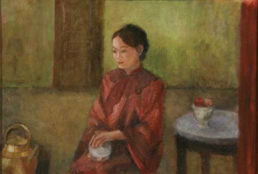 Fleur. Huile sur toile de Dominique Trémois Chazot.