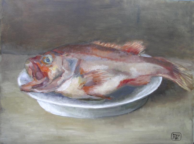 La rascasse. Huile sur toile de Dominique Trémois Chazot.