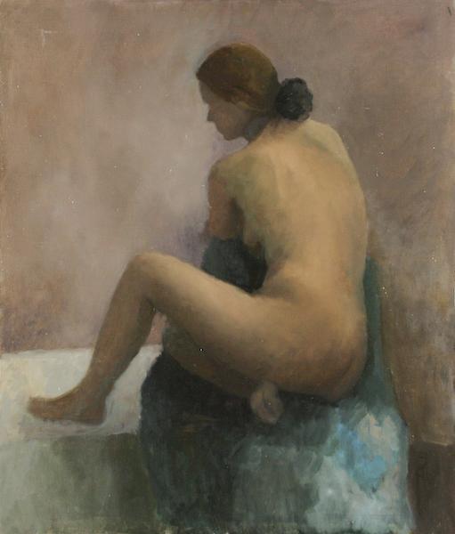 Le Catogan. Huile sur toile maroufléede Dominique Trémois Chazot