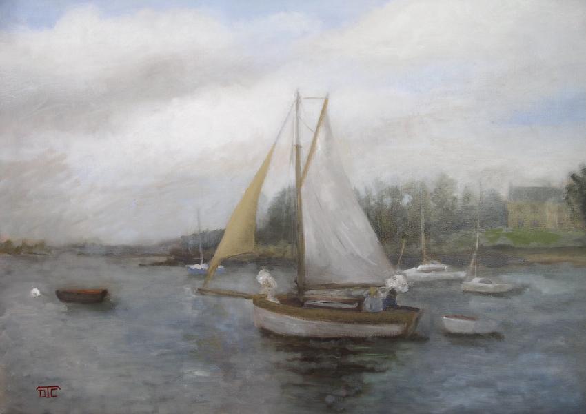 Le côtre. Huile sur toile de Dominique Trémois Chazot.