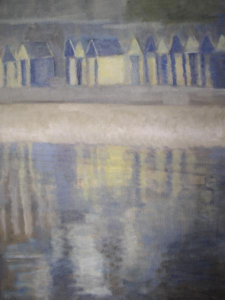 Les cabines. Huile sur toile de Dominique Trémois Chazot.