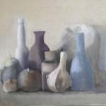 Nature Morte à la bouteille bleue. Huile sur toile marouflée de Dominique Trémois Chazot.