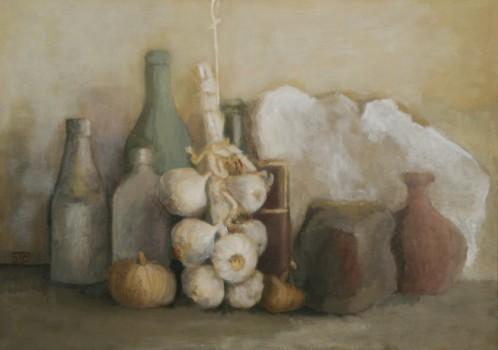 Nature Morte à l'ail. Huile sur toile marouflée de Dominique Trémois Chazot.