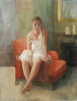 Ophélie au fauteuil rouge. Huile sur toile de Dominique Trémois Chazot.