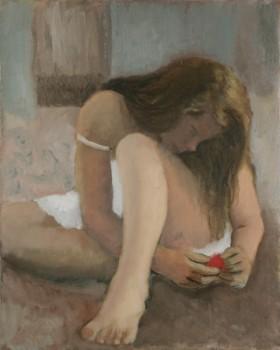 Pensive. Huile sur toile de Dominique Trémois Chazot.