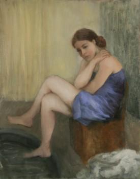 Après le bain. Huile sur toile de Dominique Trémois Chazot.