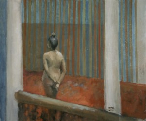 Au manoir. Huile sur toile marouflée de Dominique Trémois Chazot