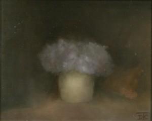Bouquet Bleu. Huile sur toile marouflée de Dominique Trémois Chazot.