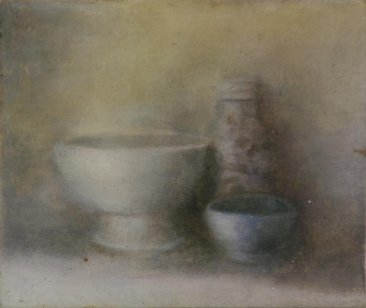 Deux bols. Huile sur toile marouflée de Dominique Trémois Chazot