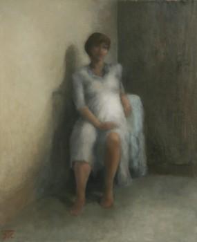 L'attente. Huile sur toile de Dominique Trémois Chazot.