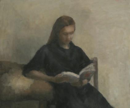 La lectrice. Huile sur toile de Dominique Trémois Chazot.