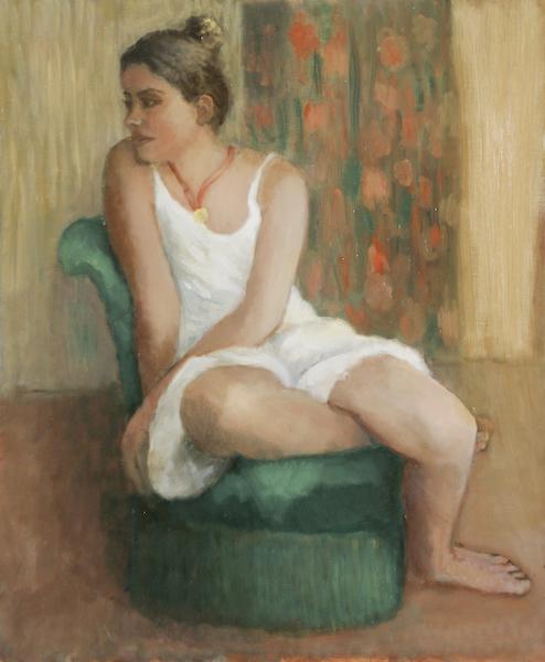 Ophélie au fauteuil vert. Huile sur toile de Dominique Trémois Chazot.