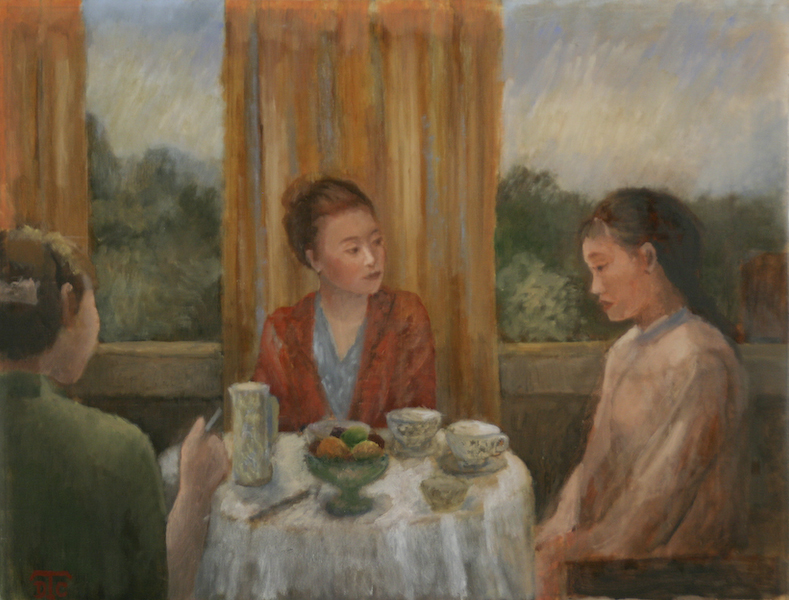 Trois générations. Huile sur toile de Dominique Trémois Chazot.