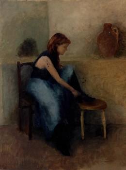 La Bottine. Huile sur toile de Dominique Trémois Chazot.